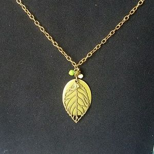 Last Day! Closet closing! Gold leaf necklace